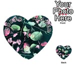 Modern Green And Pink Leaves Playing Cards 54 (Heart)  Front - Joker1