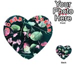 Modern Green And Pink Leaves Playing Cards 54 (Heart)  Front - Joker2