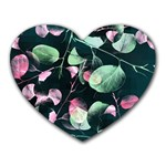 Modern Green And Pink Leaves Heart Mousepads Front