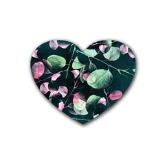 Modern Green And Pink Leaves Rubber Coaster (Heart)