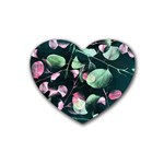 Modern Green And Pink Leaves Rubber Coaster (Heart)  Front