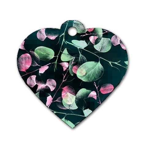 Modern Green And Pink Leaves Dog Tag Heart (One Side)