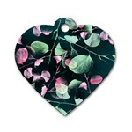 Modern Green And Pink Leaves Dog Tag Heart (Two Sides) Back