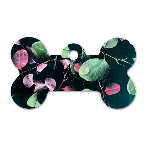 Modern Green And Pink Leaves Dog Tag Bone (Two Sides)