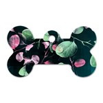 Modern Green And Pink Leaves Dog Tag Bone (Two Sides) Front