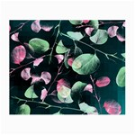 Modern Green And Pink Leaves Small Glasses Cloth (2-Side) Back