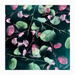 Modern Green And Pink Leaves Medium Glasses Cloth Front