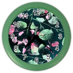 Modern Green And Pink Leaves Color Wall Clocks