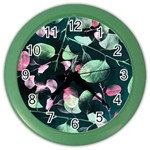 Modern Green And Pink Leaves Color Wall Clocks Front