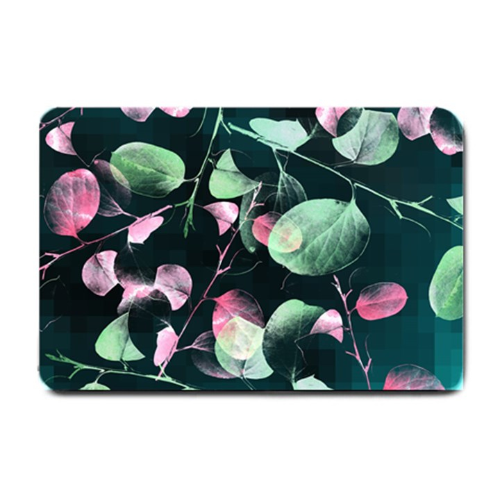 Modern Green And Pink Leaves Small Doormat