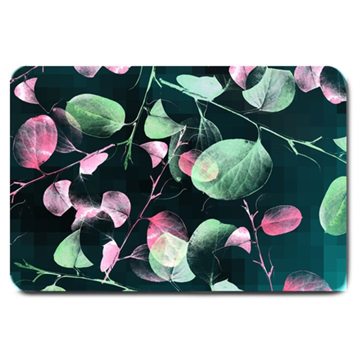 Modern Green And Pink Leaves Large Doormat