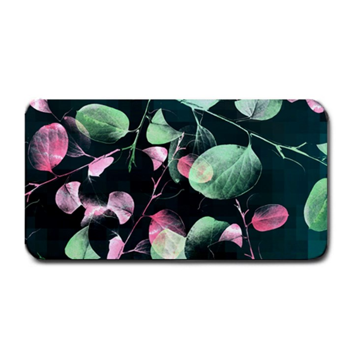 Modern Green And Pink Leaves Medium Bar Mats
