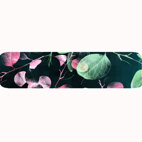 Modern Green And Pink Leaves Large Bar Mats