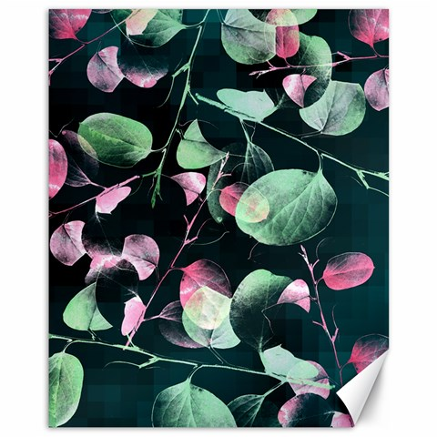 Modern Green And Pink Leaves Canvas 11  x 14