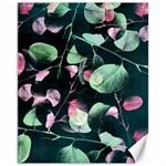 Modern Green And Pink Leaves Canvas 11  x 14   14 x11 Canvas - 1