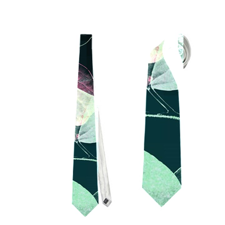 Modern Green And Pink Leaves Neckties (One Side)