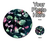 Modern Green And Pink Leaves Multi-purpose Cards (Round)  Back 8