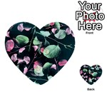 Modern Green And Pink Leaves Multi-purpose Cards (Heart)  Back 16