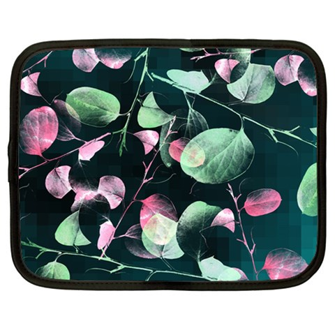 Modern Green And Pink Leaves Netbook Case (Large)
