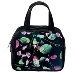 Modern Green And Pink Leaves Classic Handbags (One Side) Front