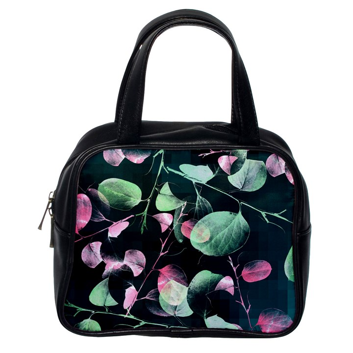 Modern Green And Pink Leaves Classic Handbags (One Side)