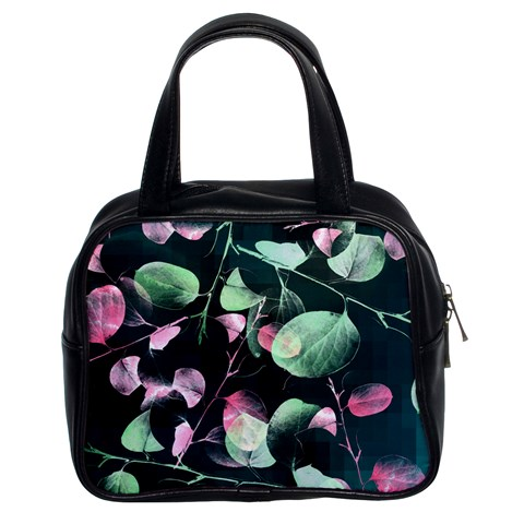 Modern Green And Pink Leaves Classic Handbags (2 Sides)