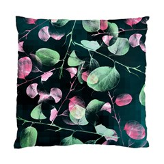 Modern Green And Pink Leaves Standard Cushion Case (one Side)