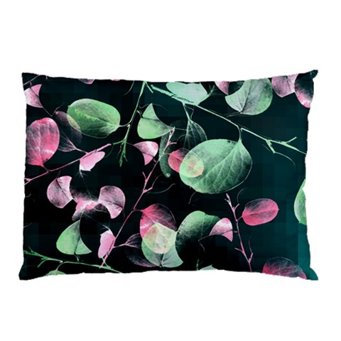 Modern Green And Pink Leaves Pillow Case