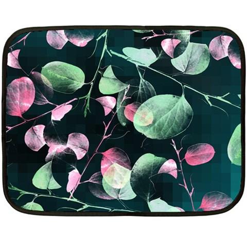 Modern Green And Pink Leaves Fleece Blanket (Mini)