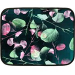 Modern Green And Pink Leaves Fleece Blanket (Mini) 35 x27 Blanket
