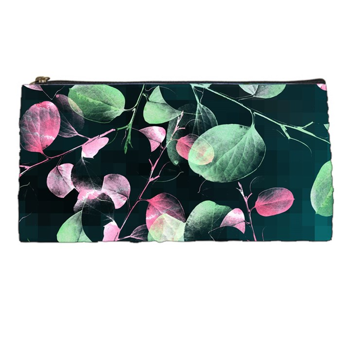 Modern Green And Pink Leaves Pencil Cases