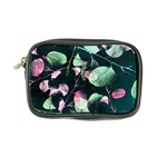 Modern Green And Pink Leaves Coin Purse Front