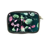 Modern Green And Pink Leaves Coin Purse Back