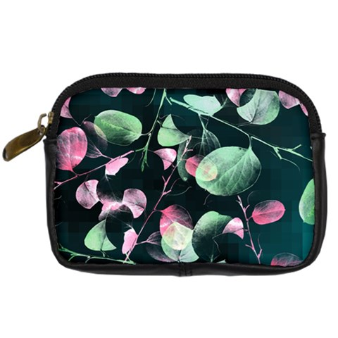 Modern Green And Pink Leaves Digital Camera Cases