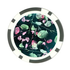 Modern Green And Pink Leaves Poker Chip Card Guards (10 Pack)
