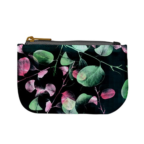Modern Green And Pink Leaves Mini Coin Purses