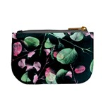 Modern Green And Pink Leaves Mini Coin Purses Back