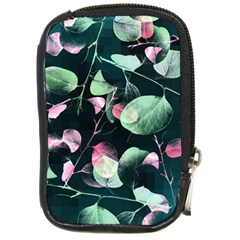 Modern Green And Pink Leaves Compact Camera Cases