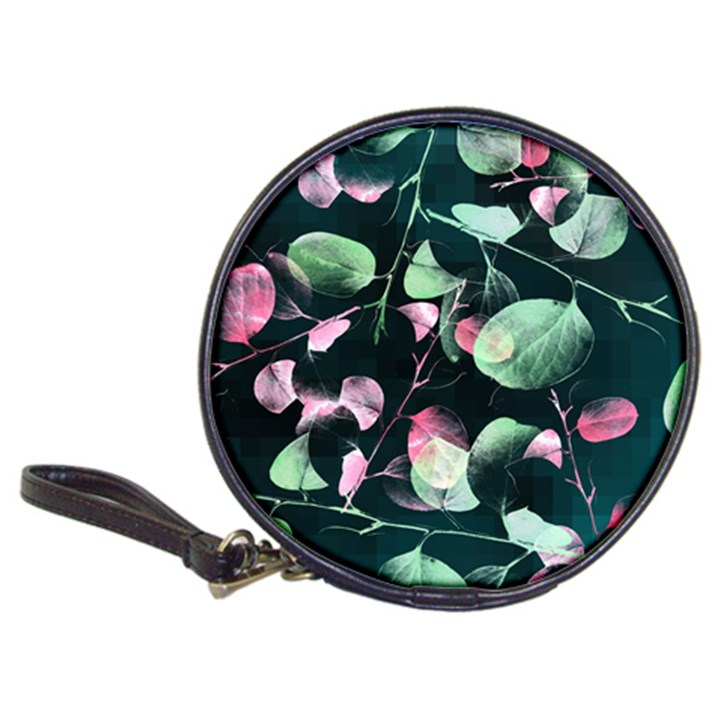 Modern Green And Pink Leaves Classic 20-CD Wallets