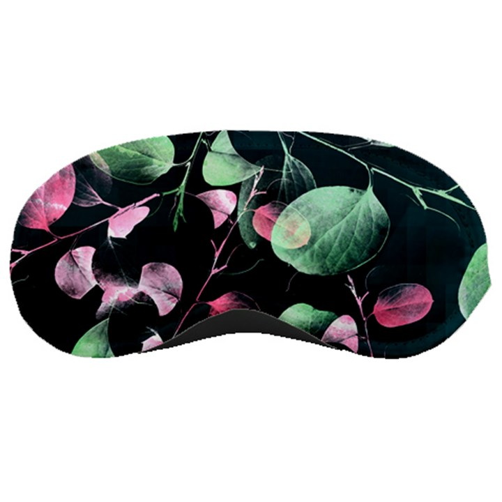 Modern Green And Pink Leaves Sleeping Masks