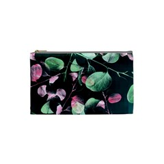 Modern Green And Pink Leaves Cosmetic Bag (Small)