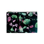 Modern Green And Pink Leaves Cosmetic Bag (Medium)  Front