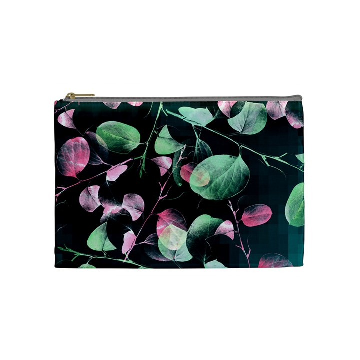Modern Green And Pink Leaves Cosmetic Bag (Medium)