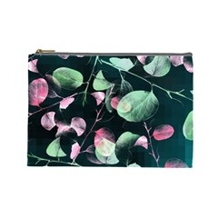 Modern Green And Pink Leaves Cosmetic Bag (Large)