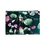 Modern Green And Pink Leaves Cosmetic Bag (Large)  Back