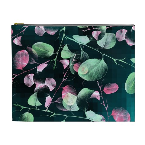Modern Green And Pink Leaves Cosmetic Bag (XL)