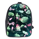 Modern Green And Pink Leaves School Bags(Large)  Front