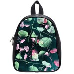 Modern Green And Pink Leaves School Bags (Small)  Front