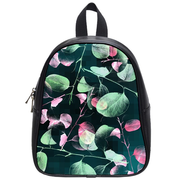 Modern Green And Pink Leaves School Bags (Small)