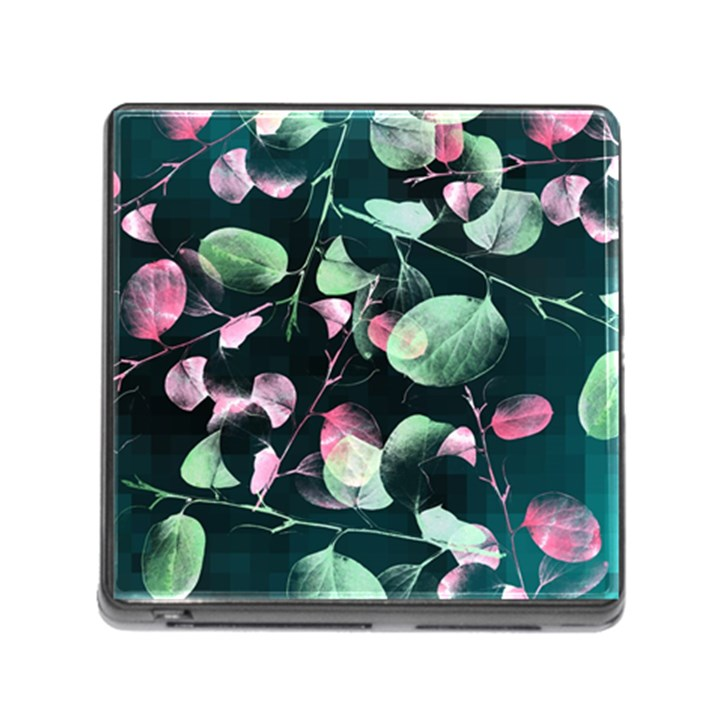 Modern Green And Pink Leaves Memory Card Reader (Square)
